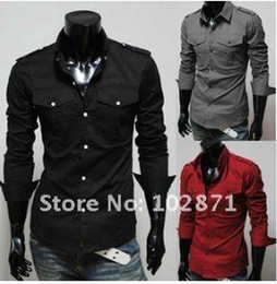 Wholesale Strechy Dresses - Wholesale-2015 Mens casual premium strechy slim fit dress shirts ,dress shirt,shirt men