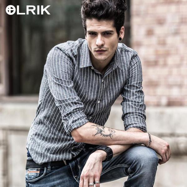 Wholesale-Olrik Brand Casual Mens Shirts Good Quality European And American Style Dress men Shirt Long Sleeve Pure Cotton Stripe Men Shirt