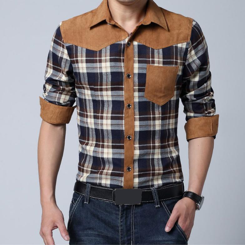 Online Cheap Wholesale 2015 Men Shirt Long Sleeve Lapel Plaid ...