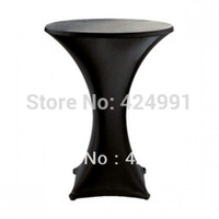 Wholesale Table Lycra - Wholesale-10pcs Black Lycra dry bar cover Cocktail table cover &cloth for wedding event &party decoration