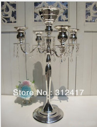 оптовые канделябры Скидка Wholesale-On Sale Top rated 68cm metal candelabra with beads for wedding centerpieces, candel holder