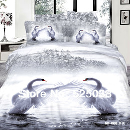 Wholesale Swan Duvet - Wholesale-4PCS Free shipping 3D printed Love the swan with Queen King size bedcovers unique linens 3d bedding set -GD-006-4