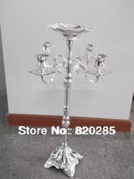 Wholesale Center Holder - Wholesale-New arrival selling best 63cm 5-arms candelabra with flower bowl in the middle center, weddings or party use candle holder