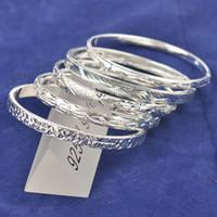 Wholesale Silver925 Jewelry - Wholesale-Free shipping 5pcs mixed styles fashion jewelry 925 jewelry sterling silver bangles fashion bangle,silver925 bracelets
