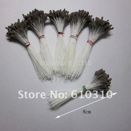 Wholesale Grey Flowers Diy - Wholesale-1440pcs 3mm High simulation Single tip strong stem 80mm length diy Grey AND Yellow matte flower stamen made in GuangDong