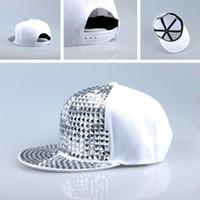 Wholesale Punk Rock Hip Hop Cap - Wholesale-D Pyramid Plastic Studs Bling Flat Hip Hop Cap Rivet Hat Rock Punk White Silver