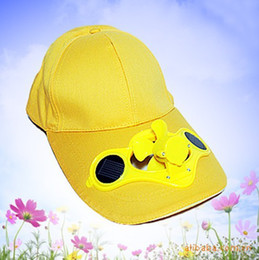 Wholesale Solar Fan Caps Free Shipping - Wholesale-yellow color Solar Power Golf Baseball Mesh Cap Hat W A Cooling Fan In The Visor for summer free shipping