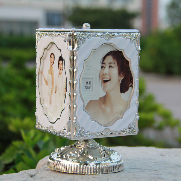 Оптовая-творческий вращающийся музыкальная шкатулка фоторамка 5-дюймовый фоторамки украшения дома свадебные сувениры подарок на день рождения бесплатная доставка G48