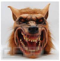 маски для лица с полным лицом оптовых-Оптовая-2015 новый Хэллоуин коричневый жуткий взрослых голова волка латекса Маска костюм опора новинка Бесплатная доставка