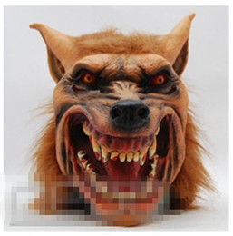 rubber latex costumes Promo Codes - Wholesale-2015 New Halloween Brown Creepy Adult Wolf Head latex Rubber Mask Costume Prop Novelty Free Shipping