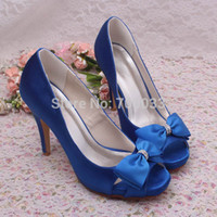 Wholesale Custom Wedges Shoes - Wholesale-New Arrival Custom Royal Blue Wedding Shoes Ladies Bridal High Heel Sandals Free Shipping Dropship
