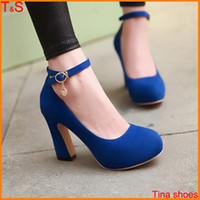 Wholesale Sexy Wedge Shoes Size 11 - Wholesale-Big Size 9 10 11 12 sexy fashion chunky high heel women's pumps platform ankle strap ladies shoes 5201