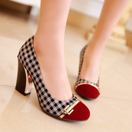 Wholesale Pretty Pumps - Wholesale-Refined fashion plaid color stitching pretty shoes,women spring summer 2015 new fashion women high heels,free shipping