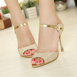 Wholesale Wedges Heels For Women - Wholesale-2015 princess high-heeled shoes open toe sandals summer dress shoes for women high quality wholesale free shipping#5495