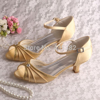 Wholesale White Wedding Low Heel Sandal - Wholesale-(12 Colors)Ivory Low Heel Rhinestone Sandals Wedding Shoes Open toe Ankle wrap with Strap