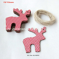 Wholesale Wooden Ornaments Bulk - Wholesale-Bulk (50pcs lot) fabric topper wooden back Christmas reindeer wishing tags decorations scrapbooking free strings-GJ1037C