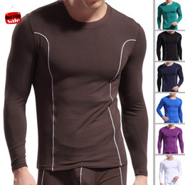 Collants En Bambou En Gros Pas Cher-Gros- Mens Long Johns doux fibre de bambou Top Undershirt Tight Underwear Slim O-Neck Sport manches longues Vêtements Quick Dry Chauffé