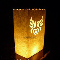 Wholesale Ornaments Tea Light Candle - Wholesale-20 pcs Dove Style Tea light Holder Luminaria Paper Lantern Candle Bag For Outerdoor BBQ Party Wedding Decoration Festival Decor