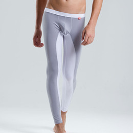 Wholesale Nylon Long Johns - Wholesale-Free shipping LOOCH men's sexy low-rise long johns silky underpants legging tight spring and autumn pants thin thermal