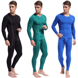 Discount bamboo onesies - Wholesale-1 Pcs WJ high quality Men's thermal underwear bamboo fiber cotton thermal underwear sets Free shipping