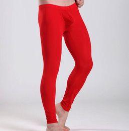 Wholesale Male Onesies - Wholesale-Ice Silk Male Men Thermal Underwear Long Pants   Male Boys Tights Leggings Low Waist Trousers M L XL