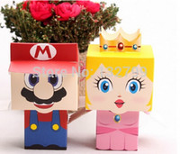 Wholesale Super Mario Candy Boxes - Wholesale-20pcs Super Mario Princess Wedding Favor Candy Boxes Birthday Party Favour Sweet Holder Box Gifts Cartoon Styles