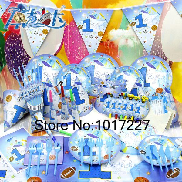 Wholesale 78pcs Kids Birthday Party Decoration Set 1 Years Old Boy Theme Supplies