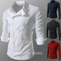 Wholesale Korean New Design Shirt - Wholesale-2015 Spring Fashion New Casual Shirts Men,Korean Slim Design Side Button Long Sleeve Shirts,Drop&Free Shipping