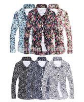 Wholesale Slim Fit Camisas - Wholesale-2015 New Men Floral Shirts M-5XL Fashion Casual Slim Fit Camisas Business Dress Floral Print Homme Shirts