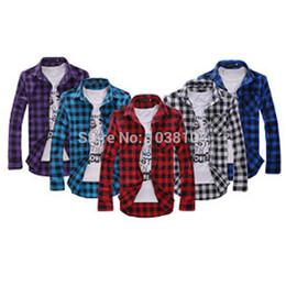 Wholesale Korean Man Fashion Shirt - Wholesale-Korean fashion men cheap long sleeve plaid shirt blue purple red black Plus Size plaid flannel shirt comforter slim fit shirts