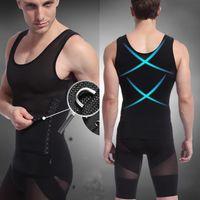 Wholesale fashion corsets - Wholesale-Fashion Mens Body Shaper Tummy Girdle Corset Vest Shapewear Underwear Compression Shirts Sleeveless