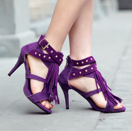 Wholesale Fringe Heels - Wholesale-2015 summer shoes fashion women sandal high-heeled sandals women's shoes bohemia women's sandals fringe peep toe sandalias