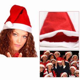 Wholesale Gift For Navidad - Wholesale-10 x Papai noel Santa Claus Hat Christmas cristmas decoration Red Cap for Adult Man Woman enfeites de natal adornos navidad gift