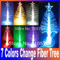 Wholesale Mini Fiber Optics - Wholesale-2015 New 7 colors change USB optic Fiber Mini PVC Led Christmas Tree light & cupula Decoration,Christmas gift Free Shipping