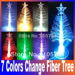 Wholesale Led Fiber Optic Christmas Trees - Wholesale-2015 New 7 colors change USB optic Fiber Mini PVC Led Christmas Tree light & cupula Decoration,Christmas gift Free Shipping