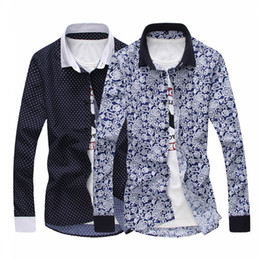 S'habille Pas Cher-Gros-Hommes Chemises 2015 New Autumn Fashion Brand Flower Buisness Robe Slim Fit Agrandir Taille M-3XL Shirts F0530