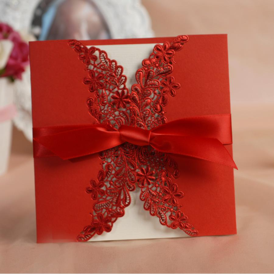 Best Wholesale Free Print Laser Cut Lace Red Wedding Invitation ...