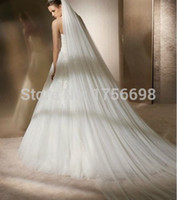 Wholesale Lace Cathedral Veil Blusher - Wholesale-romantic style cut edge two - layer long ivory cathedral wedding veil with combs 2015