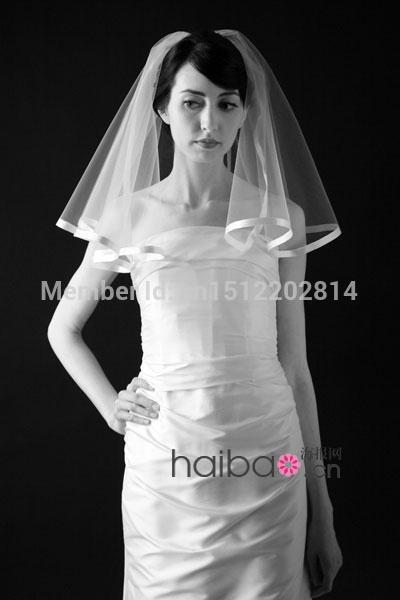 Wholesale One Layer Ribbon Edge Wedding Veil With Comb Hand Made Cheap Short Bridal Tk07 Veils And Headpieces From Dalivid