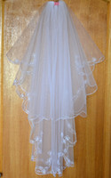 Wholesale Scalloped Edge Bridal Veil - Wholesale-2015 new white lvory 2 layer Scalloped edge embroidered wedding accessories bridal veil + comb