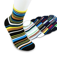 Wholesale Socks Sellers - Wholesale-US Seller Brand New Autumn 100% Cotton Elegant Stripe Multicolour Mens Socks Sports Man Sock 5 Pairs lot 6115-1001 Fast Delivery