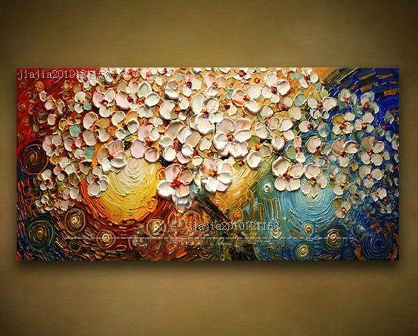 Venta al por mayor-Libre pintado a mano de la lona de la pared del arte pintura abstracta acrílico moderno flores paleta cuchillo pintura al óleo decoración del hogar