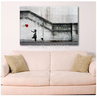 Wholesale Cheap Huge Wall Art - Wholesale-2015 New product HUGE BANKSY There Is Always Hope,Oil Wall Painting Abstract Cheap Wall picture Art Decor On canvas Freeshipping