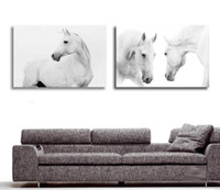 Wholesale large decorative picture - Wholesale-Large Wall Pictures For Living Room Decoration Art 2 Pieces Modern Decorative Picture White Horse Animal Oil Painting On Canvas