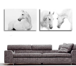 Wholesale Modern Large Canvas Oil Paintings - Wholesale-Large Wall Pictures For Living Room Decoration Art 2 Pieces Modern Decorative Picture White Horse Animal Oil Painting On Canvas