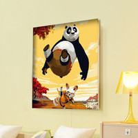 Wholesale Diy Painting Numbers Canvas - Wholesale-Home decoration diy digital oil painting by numbers handpainted oil painting on canvas 30*40-kungfu panda