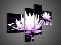 Wholesale Lotus Flower Framed Art - Wholesale-Framed 100% Hand Paint 4 panels purple lotus flowers waterlily oil painting canvas art home decor wall art Free shipping sa-1825