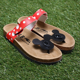 Wholesale Cartoon Slippers Women - Wholesale-South Korea cute cartoon Mickey Minnie mouse women casual cork slippers holiday comfortable sandals summer cool flip-flops #0001