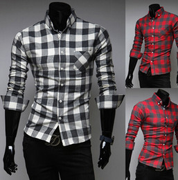 Wholesale Korean Clothing Imports - Wholesale-2015 New Arrival Korean Style Men Casual Shirt Fashion Plaid Shirts Long Sleeve Men Dress Shirt Cheap Imported Clothing Qy7603