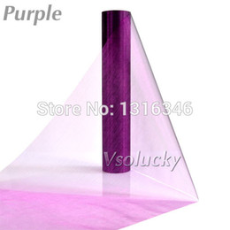 Wholesale Organza Fabric 29cm - Wholesale-Pruple 25M x 29CM Sheer Organza Roll Fabric DIY Wedding Party Chair Sash Bows Table Runner Swag Decor Hot sale